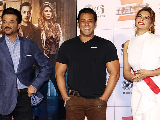 """Bollywood stars Anil Kapoor (from left), Salman Khan Jacqueline Fernandez are part of the attraction of the big-budget action sequel """"Race 3."""""""