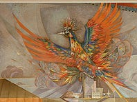 The Phoenix by Paul Coze, 1962. paint, mixed media, (52 different materials), 16 x 75?? (all three panels) each panel is 16 x25??. On display at the Phoenix Sky Harbor International Airport.