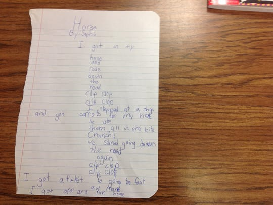 A photo of one Mosinee Elementary student's poem in