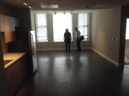 Inside one of the newly finished, one-bedroom Sibley Square apartments.
