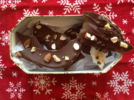 This chocolate almond bark is sprinkled with almonds