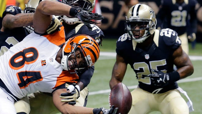 New Orleans Saints free safety Rafael Bush (25) plays against the Cincinnati Bengals in New Orleans on Nov. 16, 2014.