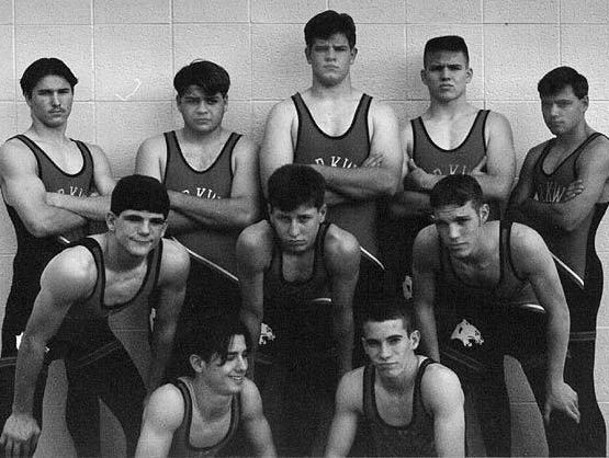Two decades ago, Chris Collier (pictured in middle of top row in 1996) was a wrestling star at Parkway. Saturday, Collier (the head wrestling coach at Live Oak) will attempt to prevent the Panthers from winning a state title. Back row, from left: Chris Davis, Ryan Holford, Collier, Travis Schulze, Jeremy Karbowski. Center row, from left: Steve Mathews, Wesley Wilcox, Chris Horton. Front row, from left: Alex Vega, Jeff Punillo.