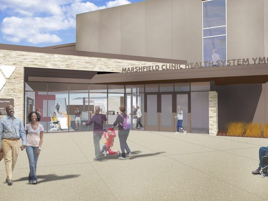 A rendering of the new entrance to the Marshfield Health Clinic Systems YMCA.
