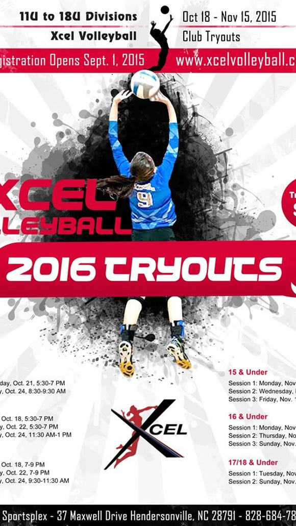 Tryouts for the Xcel Volleyball Performance Club teams will occur in October and November.