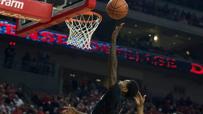 Purdue Boilermakers guard Johnny Hill (1) scores against the Nebraska Cornhuskers in the second half at Pinnacle Bank Arena. Purdue won 81-62.