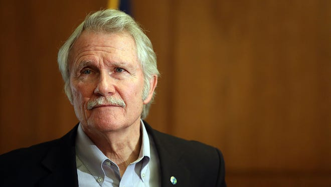 Gov. John Kitzhaber holds a news conference last year in his ceremonial office at the Capitol.