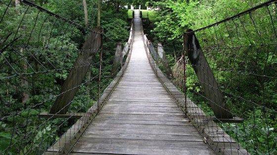 The swinging bridge is shown in Columbus Junction.