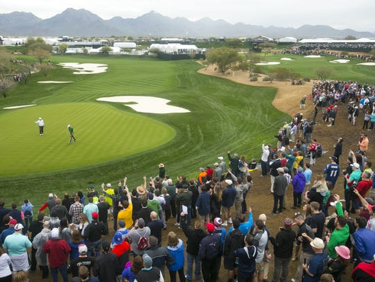 A view of the 10th green at the Waste Management Phoenix