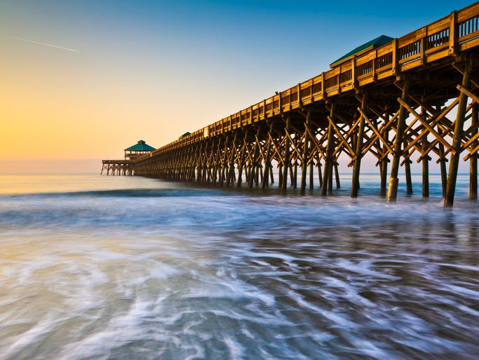 South Carolina, one of the first colonies to declare independence from the British crown and the eighth to join the Union, is a state of beaches, mountains, waterfalls and a fascinating blend of cultures. Pictured here is Folly Beach Pier along the coast near Charleston.