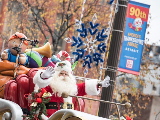 Santa's arrival is one of the highlights of the annual parade along Woodward in Detroit.
