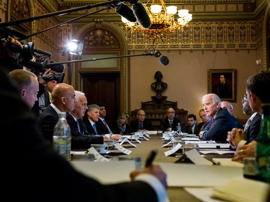"Vice President Joe Biden talks with members of the press during a meeting with health industry leaders as part of his cancer ""moonshot"" initiative at the Eisenhower Executive Office Building on Friday afternoon, January 6, 2016."