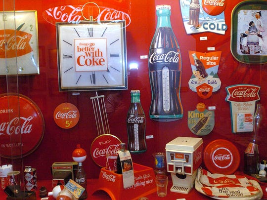 Coca-Cola memorabilia inside the Biedenharn Candy Manufacturing Company building, now a Museum of Coca-Cola History, located on Washington Street in Vicksburg.