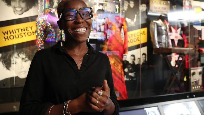 Nwaka Onwusa, director of curatorial affairs at the Rock and Roll Hall of Fame and Museum, talks Thursday about the Class of 2020 inductees exhibit in Cleveland.
