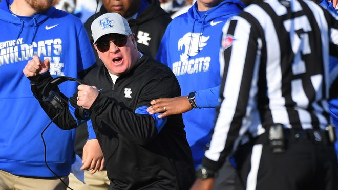 Kentucky head coach Mark Stoops disagrees with a call during a game against Vanderbilt on Nov. 16, 2019, at Vanderbilt Stadium in Nashville, Tenn.