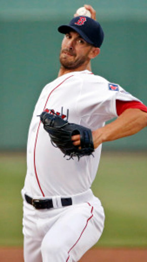 Boston pitcher Rick Porcello throws during a spring training game.