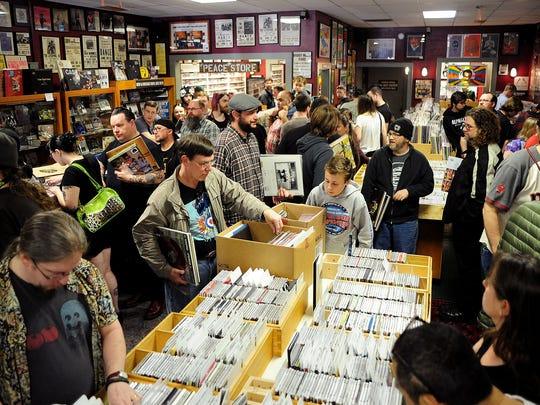 A crowd of vinyl enthusiasts pack Ranch Records on Saturday, Record Store Day.
