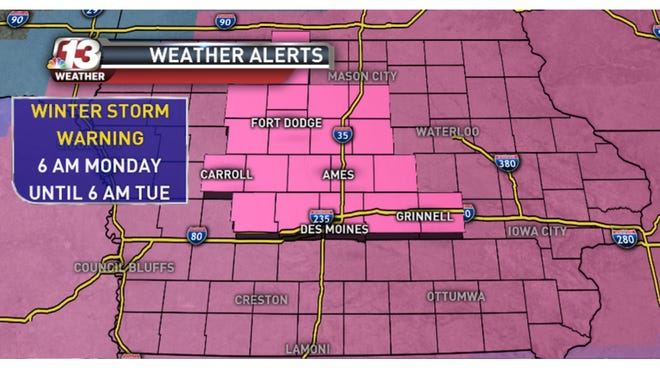 National Weather Service has issued a Winter Storm Warning for Monday.