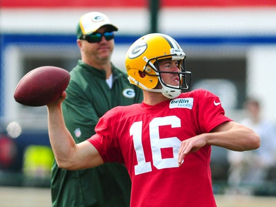 Green Bay Packers quarterback Scott Tolzien throws during Monday's training camp practice at Ray Nitschke Field.