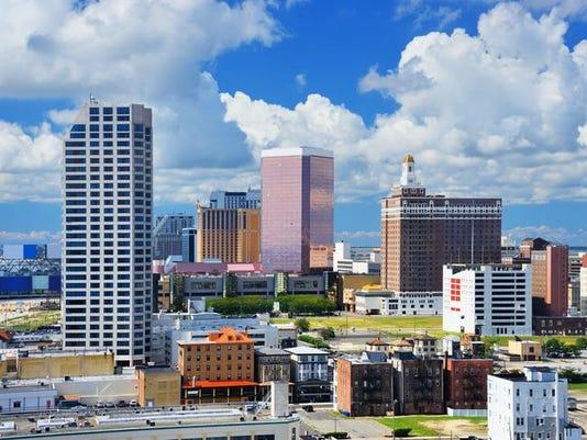 A skyline of Atlantic City, New Jersey on a sunny day