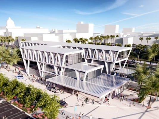 A rendering of the new 60,000-square-foot All Aboard Florida train station in downtown West Palm beach. Construction for the new station is expected to begin within the next few months. (ALEX SLITZ/TREASURE COAST NEWSPAPERS)