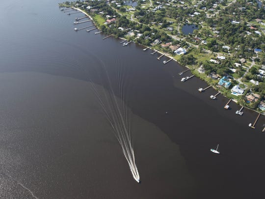 The St. Lucie River seen in April 2016 after months of discharges from Lake Okeechobee.