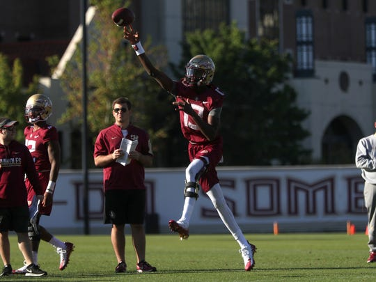 FSU's James Blackman throws a pass during spring practice