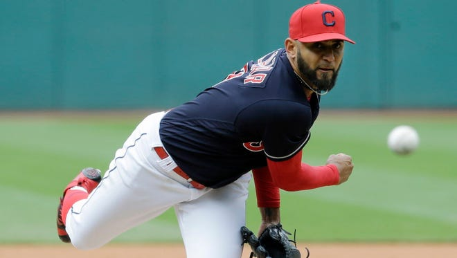 Cleveland Indians starting pitcher Danny Salazar delivers a pitch in the first inning against the Mariners in Cleveland.