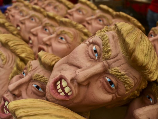 Now that's scary. Masks representing Republican presidential