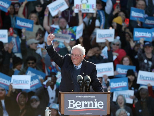 Presidential candidate Sen. Bernie Sanders (I-Vt.) speaks during a rally at Grant Park Saturday, March 7, 2020 in Chicago. (John J. Kim/Chicago Tribune/TNS)