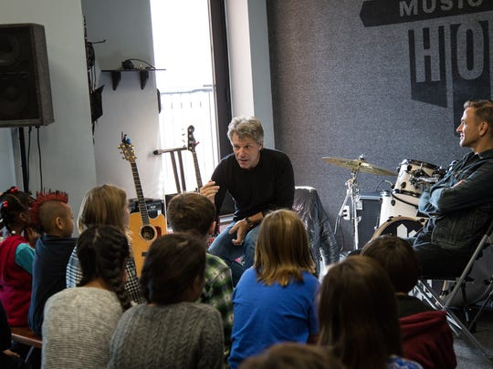 Jon Bon Jovi and the kids of the Lakehouse Music Academy in Asbury Park.