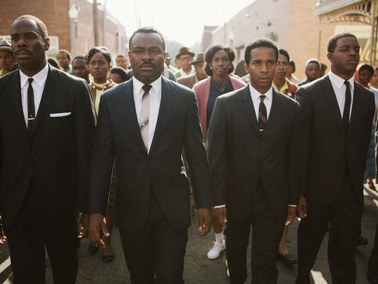 """From left, Colman Domingo as Ralph Abernathy, David Oyelowo as Dr. Martin Luther King Jr., André Holland as Andrew Young and Stephan James as John Lewis star in """"Selma."""""""