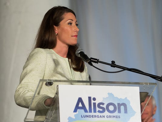 U.S. Senate candidate Alison Lundergan Grimes give a concession speech after loosing the election to incumbent Mitch McConnell