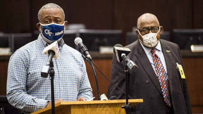 Augusta Mayor Hardie Davis, left, is accompanied by Commissioner Dennis Williams as he speaks during a press conference at the Municipal Building in Augusta, Ga., Friday afternoon July 10, 2020.
