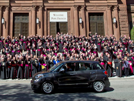 Pope Francis leaves St. Matthew's Cathedral in his