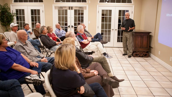 Tom Butine, President of Citizens for Dixie's Future, discusses alternative options to the Lake Powell Pipeline planned by the state Thursday, Feb. 18, 2016.