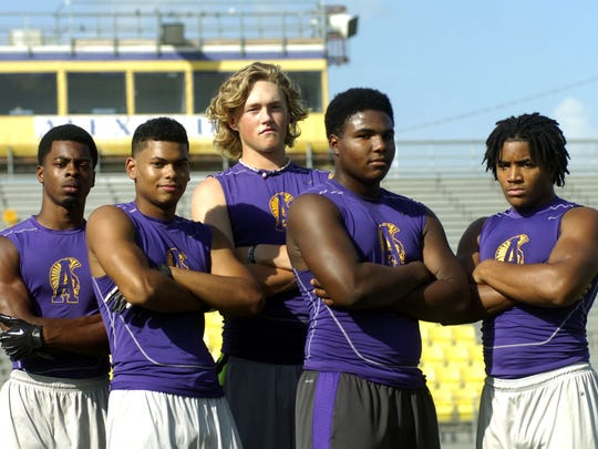 ASH football players (from left) Daniel Reid, Josh Carmouche, Matthew Beck, Mack Johnson and Kyle Smith