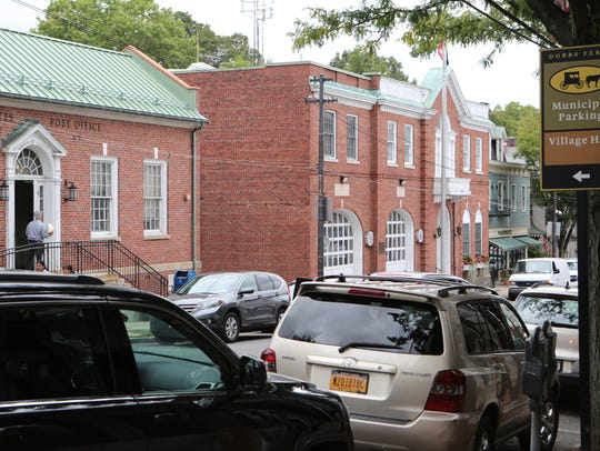 The exteriors of the Dobbs Ferry Post office and fire