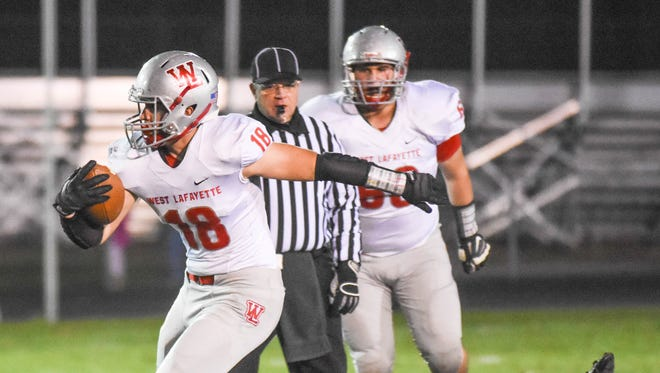 West Lafayette's Sage Hood breaks free of Concordia in the first quarter Friday night.