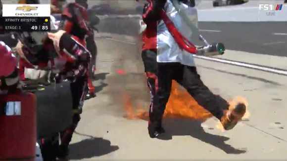NASCAR crew member catches on fire, acts like it's no big deal