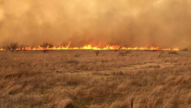 A grass fire is shown in this file photo from the Leedey Fire Dept.