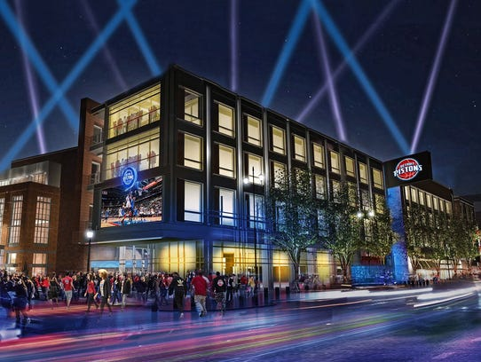 A rendering of the Pistons at Little Caesars Arena.