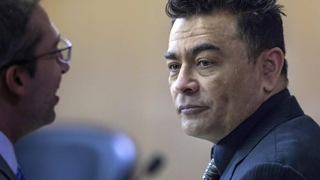 Nelson Hernandez Mena talks with his attorney during a break Wednesday, Jan. 15, 2020. Mena is charged with the first-degree murder of Juan Javier Cruz, 22. Multiple witnesses confirmed that Mena followed Cruz and his friends out of Restaurante y Pupuseria Las Flores in downtown Lake Worth Beach and threatened them for being gay.