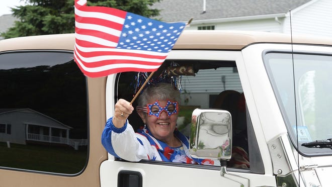 Lois Boutilier during a Fourth of July parade at Stone Meadow in Bridgewater on Saturday, July 4, 2020.