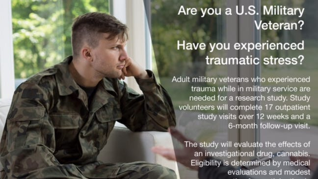 A new study in Arizona will research the effects of marijuana on veterans with PTSD.