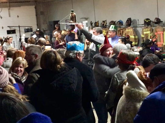 Revelers before the muskrat drop in Princess Anne, Maryland on Dec. 31, 2017