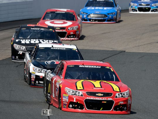 Jamie McMurray, front, has the reputation of being