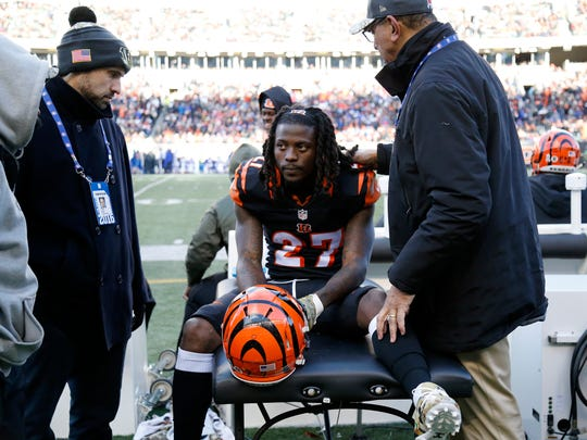 Cincinnati Bengals cornerback Dre Kirkpatrick (27) sits on the trainers' table with an injury between drives in the fourth quarter of the NFL Week 11 game between the Cincinnati Bengals and the Buffalo Bills at Paul Brown Stadium in Cincinnati on Sunday, Nov. 20, 2016. The Bengals fell to 3-6-1 with a 16-12 loss to the Bills.