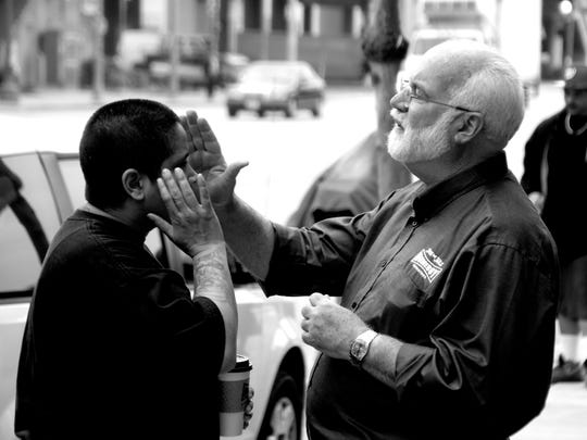 "Trainees in the Homeboy Industries' trauma-focused job training programs in Los Angeles often ask for a blessing from Homeboy founder Father Gregory Boyle, a Jesuit priest. Trainees call him ""Father G"" or just Greg."