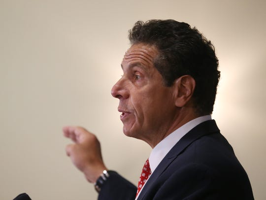 Governor Andrew Cuomo speaks during Wednesday's press